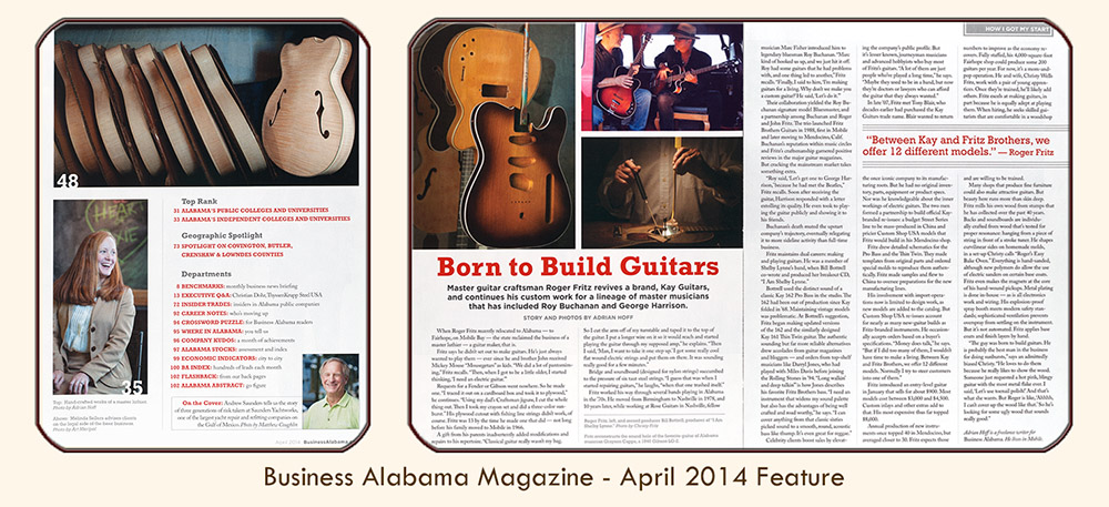"Thumbnail image linked to Mobile Alabama writer and photographer Adrian Hoff's profile of master luthier Roger Fritz, ""Born to Build Guitars."" Published in PMT Publishing's Business Alabama magazine, April 2014."