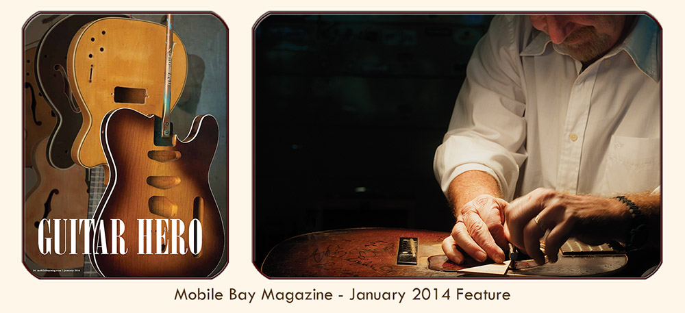 "Thumbnail image linked to Alabama writer and photographer Adrian Hoff's feature article, ""Guitar Hero — The sweet sounds of Roger Fritz's handcrafted axes have attracted quite the celebrity following, from George Harrison to Randy Jackson."" Published Mobile Bay Magazine, January 2014."