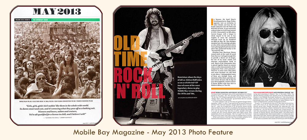 "Image linked to Alabama Writer and Photographer Adrian Hoff's ""Old Time Rock 'n Roll"" photo feature, based on Hoff's 1970s-80s rock shots and vintage interviews: published in PMT Publishing's Mobile Bay Magazine, May 2013."