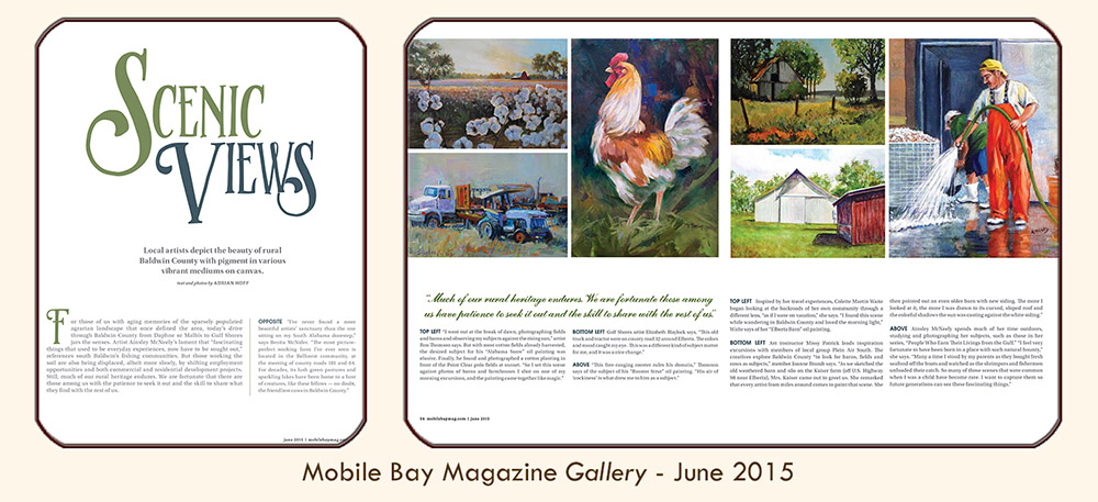 "Thumbnail image linked to Alabama writer and photographer Adrian Hoff's Gallery article, ""Scenic Views: Local artists depict the beauty of rural Baldwin County."" Published in PMT Publishing's Mobile Bay Magazine, June 2015"
